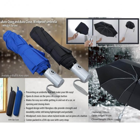 Auto Open and Auto close, Windproof umbrella with zipper case